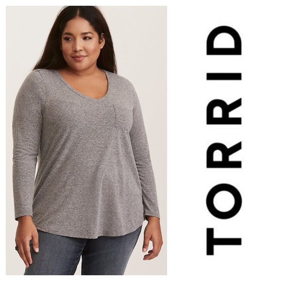 Torrid Premium Grey Triblend V-Neck Pocket Tee